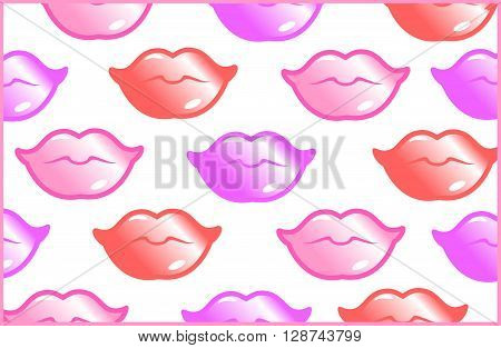 This is female pattern with lips on the white background