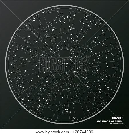 Point and curve constructed abstract graphic Oriental astrology.