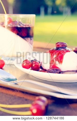 Sweet traditional Italian dessert panna cotta.Selective focus on the panna cotta in plate