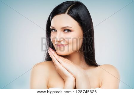 Female With Hands Together Portrait