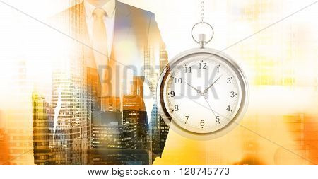Time management concept with businessman and New York city view. Double exposure