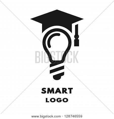 Lamp with square academic cap. Logo icon symbol.