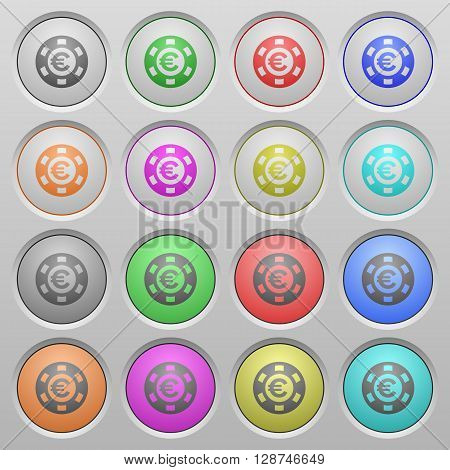 Set of Euro casino chip plastic sunk spherical buttons.