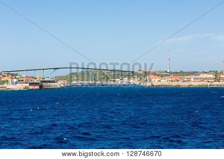 The Queen Juliana Bridge on Curacao with colorful architecture