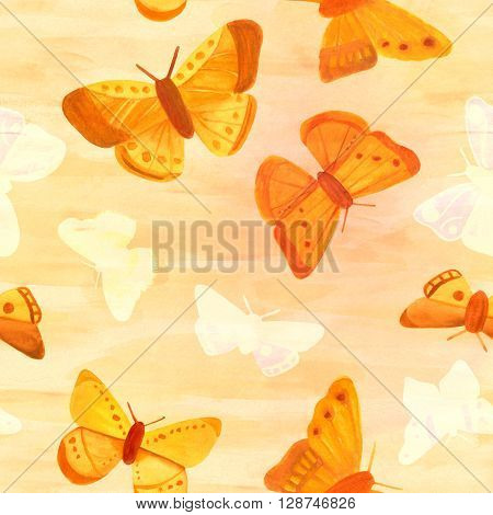 A seamless pattern with golden colored watercolor butterflies and butterfly silhouettes on a background of abstract brush strokes