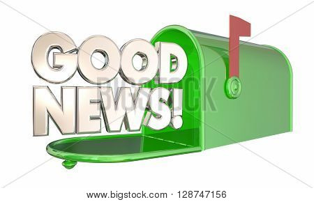 Good News Mailbox Great Information Positive Message 3d Illustration