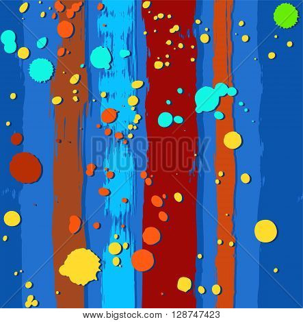 Vector background with colored blots on a blue background with a brown ragged strips. The trail from the paint roller and spray paint, imitation. For the decoration.