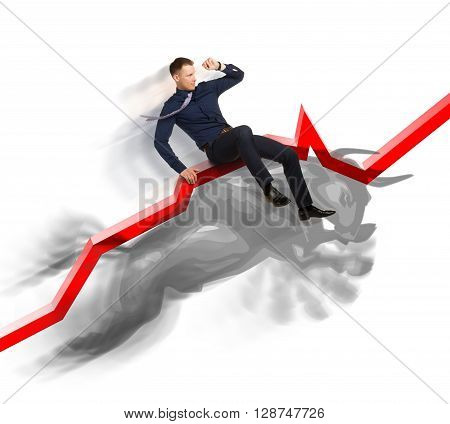 Businessman is on the jumping bull on direction red upward trend line on background of  graphic of  fund.  Active sales in bullish market concept.