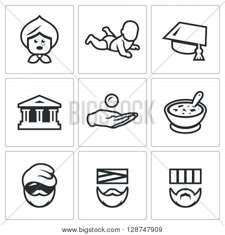 Vector Set of Social Payment Icons. Pension, Child benefit, Grant, Lending, Subsidy, Social nutrition, Homeless, Sick, Prison.