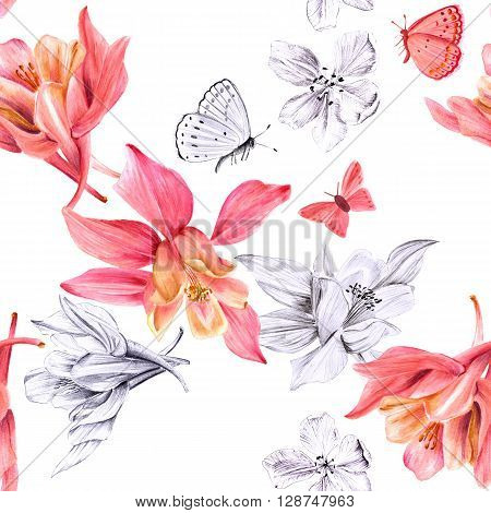 A seamless background pattern with watercolor drawings and pencil sketches of blooming fuchsia flowers and butterflies