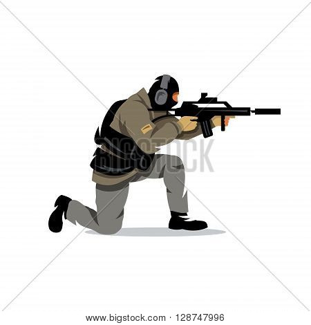 Armed military preparing to shoot with automatic rifle Isolated on a White Background