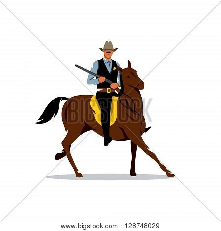 Cowboy aiming the gun on horseback Isolated on a White Background