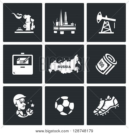 Vector Set of Russia Icons. Gas, Oil, Contract, Territory, Money, Man,  Football, Shoes.