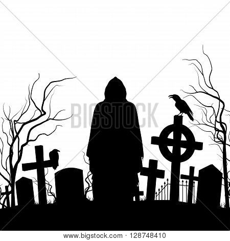 Silhouette of the cemetery on the white background