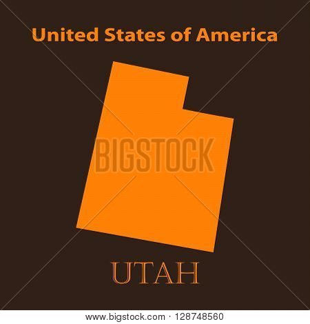 Orange Utah map - vector illustration. Simple flat map of Utah on a brown background.
