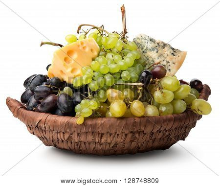 Cheese and grape in basket isolated on a white background