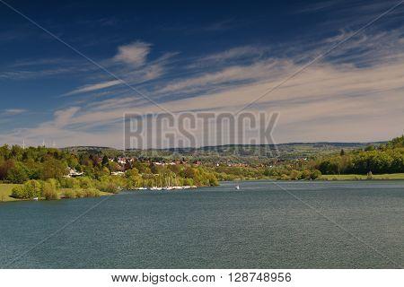 Lake Nidda near Schotten Vogelsberg Hesse Germany
