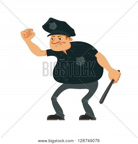 Angry police officer in aggressive position shaking his fist