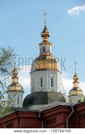 Cathedral (1689) of the St. Intercession orthodox Monastery in Kharkiv Ukraine in sunny summer day