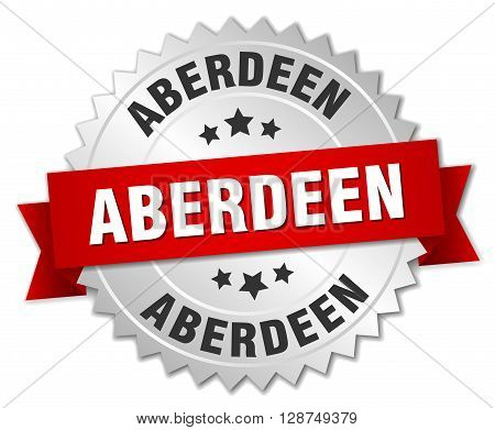 Aberdeen round silver badge with red ribbon