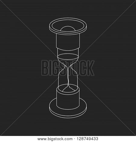 Vector white line hourglass icon on black background