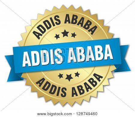 Addis Ababa round golden badge with blue ribbon