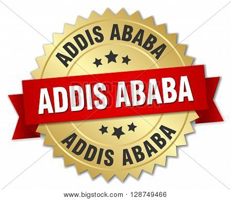 Addis Ababa round golden badge with red ribbon