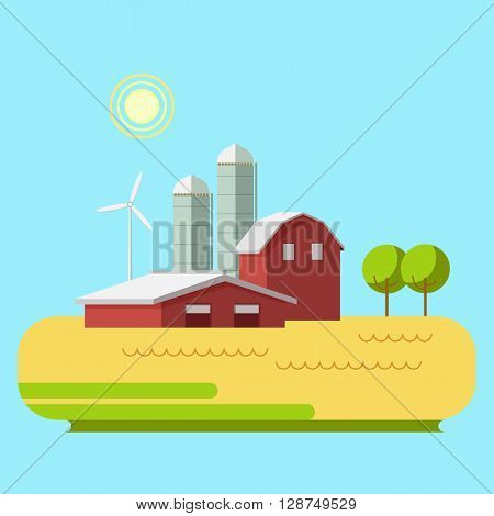 Vector illustration rural landscape. Rural landscape with field farm. Rural life. Rural lifestyle. Rural landscape with rural buildings farm valley