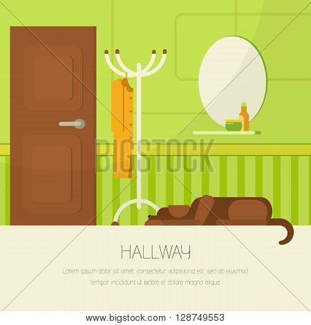 Interior hallway room design with door and floor hanger. Flat style vector illustration of interior hallway room. Lying dog in interior room. Interior hallway room in green and brown colors.
