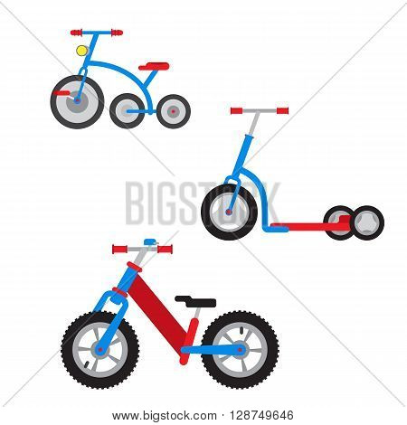 Set of colorful cartoon bicycles scooters run bikes tricycles play park white background. Flat vector illustration