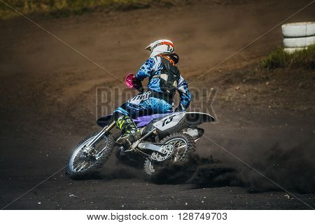 Miasskoe Russia - May 02 2016: racer on a motorcycle skid on race track during Cup of Urals motocross