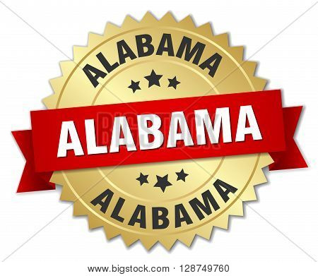Alabama round golden badge with red ribbon