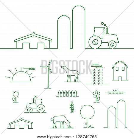 Thin line flat design rural landscape. Thin line abstract of tractor sun and corn. Set elements rural landscape with house and wind mill. Rural landscape with farm animals. Outline rural landscape.