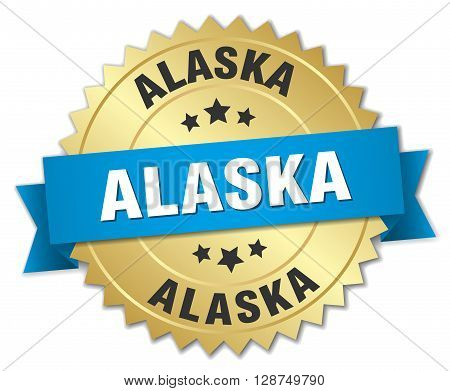 Alaska round golden badge with blue ribbon