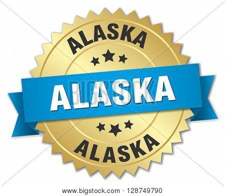 Alaska round golden badge with blue ribbon
