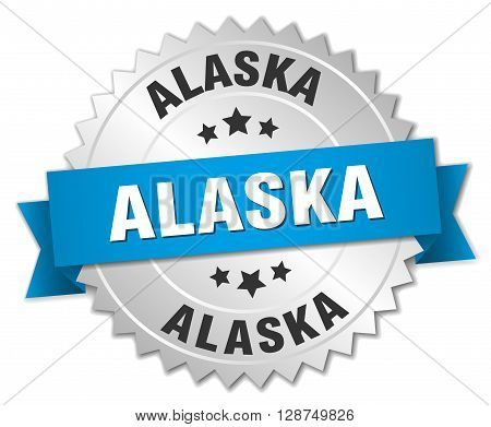 Alaska round silver badge with blue ribbon