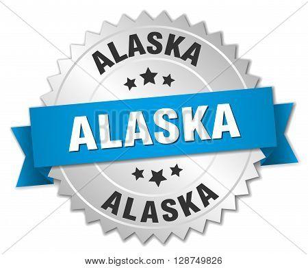 Alaska round silver badge with blue ribbon