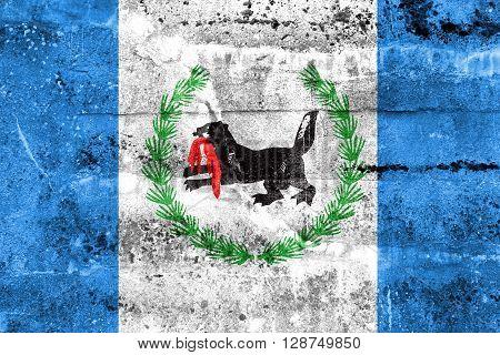 Flag Of Irkutsk Oblast, Painted On Dirty Wall. Vintage And Old Look.