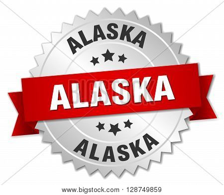 Alaska round silver badge with red ribbon