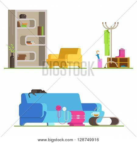 Set of detailed interior room flat. Interior living room and hallway: couch coffee table bookshelves armchair ball of wool clothes shoes umbrella . Vector illustration detailed interior room.