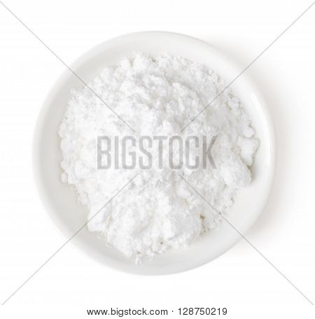 Bowl Of Powder Sugar On White Background, Top View