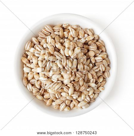 Bowl Of Pearl Barley On White Background, Top View