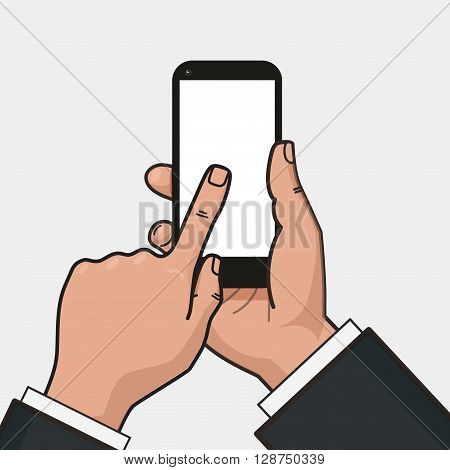 Mobile phone in businessman hand. Finger touches a screen of smartphone. Mockup of modern mobile phone with touchscreen. Vector flat design.
