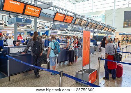 PRAGUE, CZECH REPUBLIC - AUGUST 04, 2015:interior of Prague airport. International airport of Prague is major airport of Czech Republic