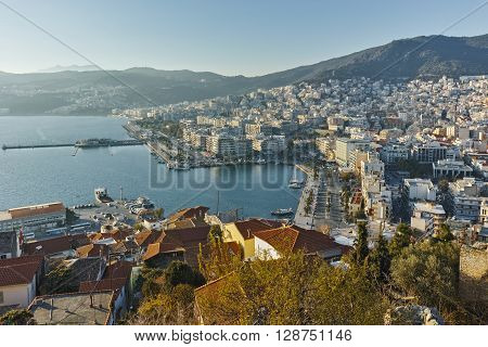 Sunset Panorama to port of city of Kavala, East Macedonia and Thrace, Greece