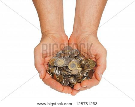 Hands with Polish money isolated on white background