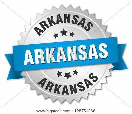 Arkansas round silver badge with blue ribbon