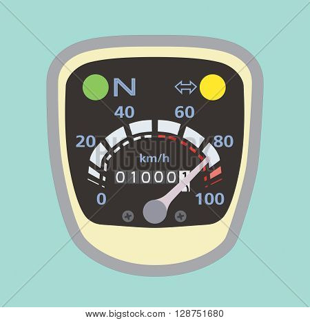 Miles speedometer on motorcycle a vintage style. Flat Lay for design