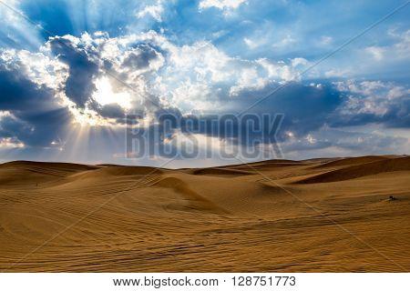 Yellow sand of Desert in Dubai United Arab Emirates