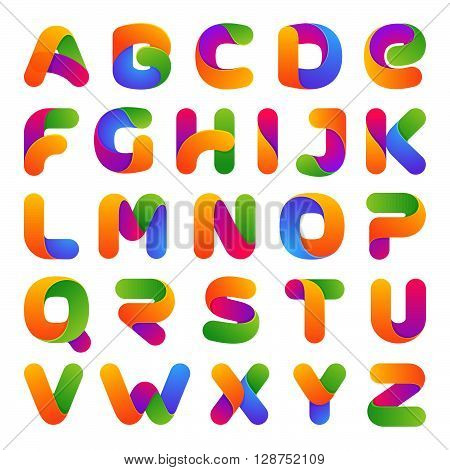 Colorful One Line Letters Set.